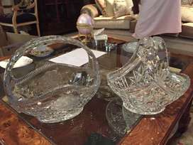Waterford cut glass baskets