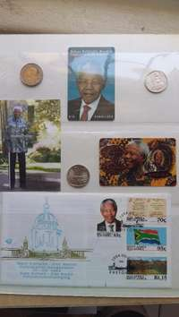 Image of Mandela Special: 2008, 2000 and 1994 R5 Coins with rare phone cards et