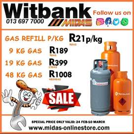 Gas Refill SALE now on at Midas Witbank!