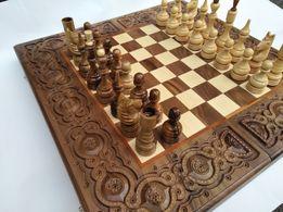 Шахматы-шашки-нарды резные ручной работы подарочные деревянные