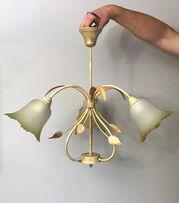 Lampa wisząca kwiaty, szklana, metalowa, brązowa