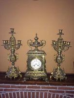 Часы каминные большие, канделябры,бронза.