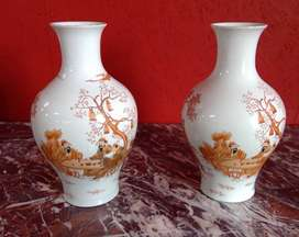 A Fine Pair Chinese Red Decorated Bottle Shaped Vases for sale.