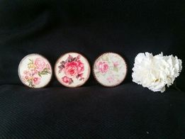 Magnesy kwiaty vintage hand made