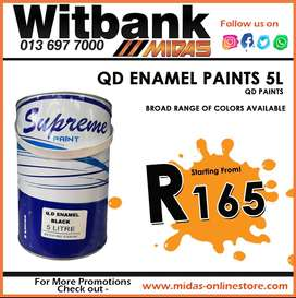 QD Enamel Paints 5L starting from ONLY R165 at Midas Witbank!