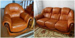Италия.Кожаный классический гарнитур.Диван+2 кресла