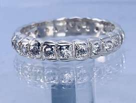 Full eternity silver cubic ring