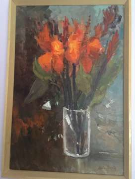 Louis Audie - Original Oil Painting Flowers Single Frame Size 79x54cm