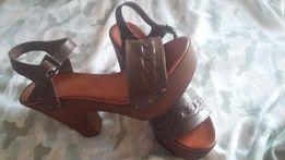 włoskie skórzane czekoladowe sandały sole diva