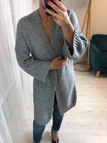 sweter nowy kardigan narzutka szary szara modna dlugi uniwersalny