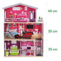 Domek dla lalek Barbie Drewniany +10 Mebli +GRATIS Lalka typu BARBIE