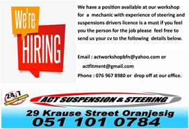 Mechanic needed must have experience in steering & Suspension