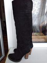 Черные замшевые ботфорты,сапоги 37 Vero coiuo