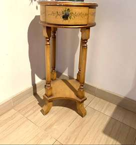 Tall Wooden Stand with Floral Detailing
