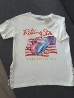 NOWA Koszulka Rolling Stones koncert biała z metką bluzka