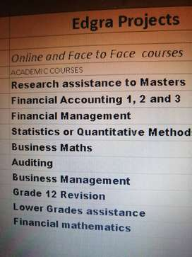 ONLINE and FACE TO FACE ACCOUNTS AND FINANCIAL MANAGEMENT TUTOR