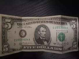 Old 5 Dollars note 1981