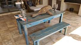 Table and 2 bench chairs rustic
