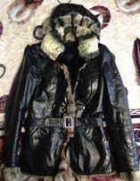 Кожаная зимняя женская куртка