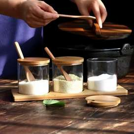 7pc Wooden lid and spoon set