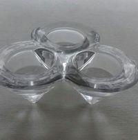 Świecznik szklany na trzy płaskie świeczki