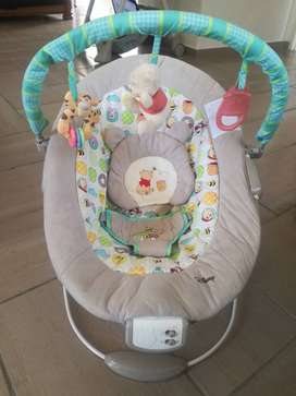 Little one pram & car seat set & Disney bouncer for sale.7 months old