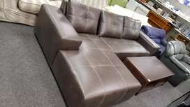 BROWN L-SHAPE LEATHER COUCH