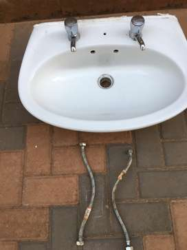 Bathroom basin for sale comes with two free taps and connecting pipes