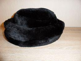 Czapka kapelusz sztuczne futerko czarna rozm. 58
