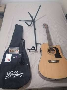 Washburn AD5 acoustic guitar with pickup.