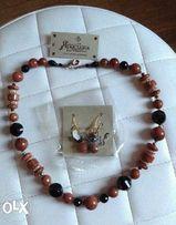 Отличный подарок набор бусы серьги натуральные камни новый + подарок