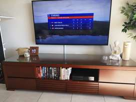 Solid Wood Glass Top TV Unit