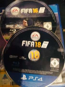 2 PS4 Bluray disc games Fifa18 and Fifa16