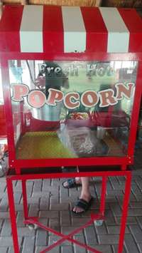 Image of Industrial popcorn machine on trolley stand