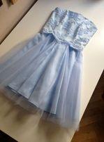 błękitna niebieska baby blue sukienka gorsetowa tiul S wesele lou
