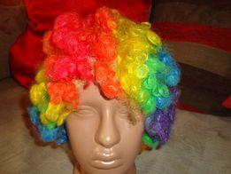 Парик карнавальный разноцветный. клоун.