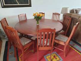 8 Seater Round Solid Saligna Table and Chairs