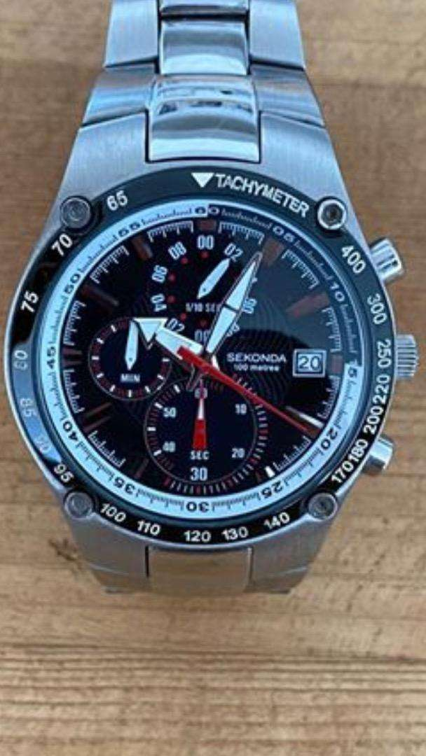 Sekonda stainless steel watch with tachymeter. 0