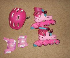 ролики шлем наколенники для девочки барби