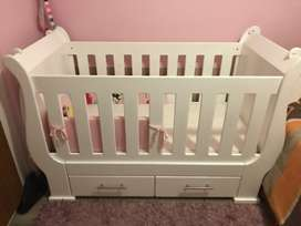Large White sleigh cot