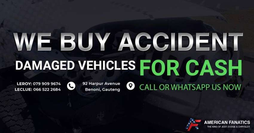 We buy accident Damaged Vehicles for Cash. Give us a Call or WhatsApp!