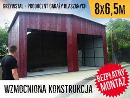 GrzywStal - Garaż Blaszany BRĄZ 8x6,5m , garaże , wiaty , hale , garaż