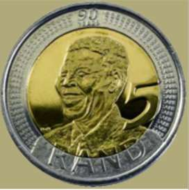 R5 Nelson Mandela coin 2008 90th anniversary birthday.