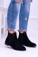 Botki buty czarne wsuwane workery sztyblety zamszowe zamsz jak nowe 37