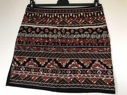 Damska spódniczka H&M, wzory etno czarna ruda cekiny koraliki, Rozm. M