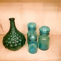 Used, Retro Blue Glass jars (3x) with lids all good, 1 'bubble' genie bottle for sale  South Africa