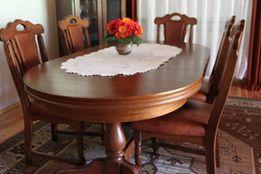 Duży, rozkładany stół, drewniany + 6 krzeseł z obiciem skórzanym