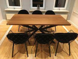 Stół dębowy lite drewno stal dąb loft industrialny nowoczesny krzyżak