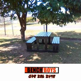 Outdoor wooden benches