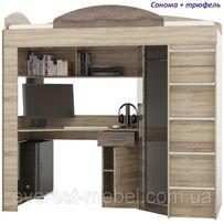 Кровать горка со столом и шкафом Чердак Эверест